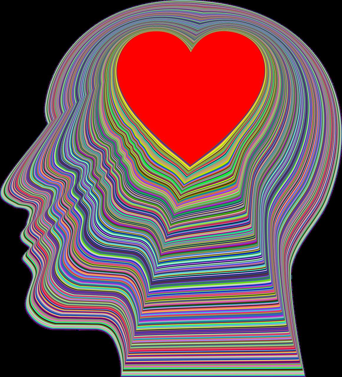 heart in striped head